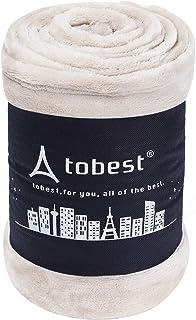 毛布 シングル 静電気防止 極厚 プレミアム マイクロファイバー ブランケット 冬用 高密度 フランネル 洗える tobest 140x200cm S アイボリー