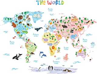 DECOWALL DAT-1615S Animal World Map Kids Wall Stickers Wall Decals Peel and Stick Removable Wall Stickers for Kids Nursery...