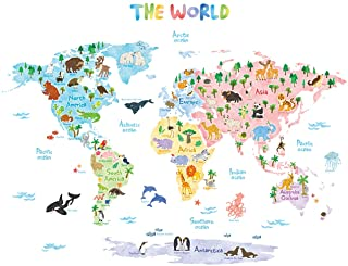 DECOWALL DAT-1615S Animal World Map Kids Wall Decals Wall...