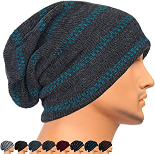 Men's Women's Warm Knit Caps Oversize Grey Slouchy Striped Beanie Outdoor Hats