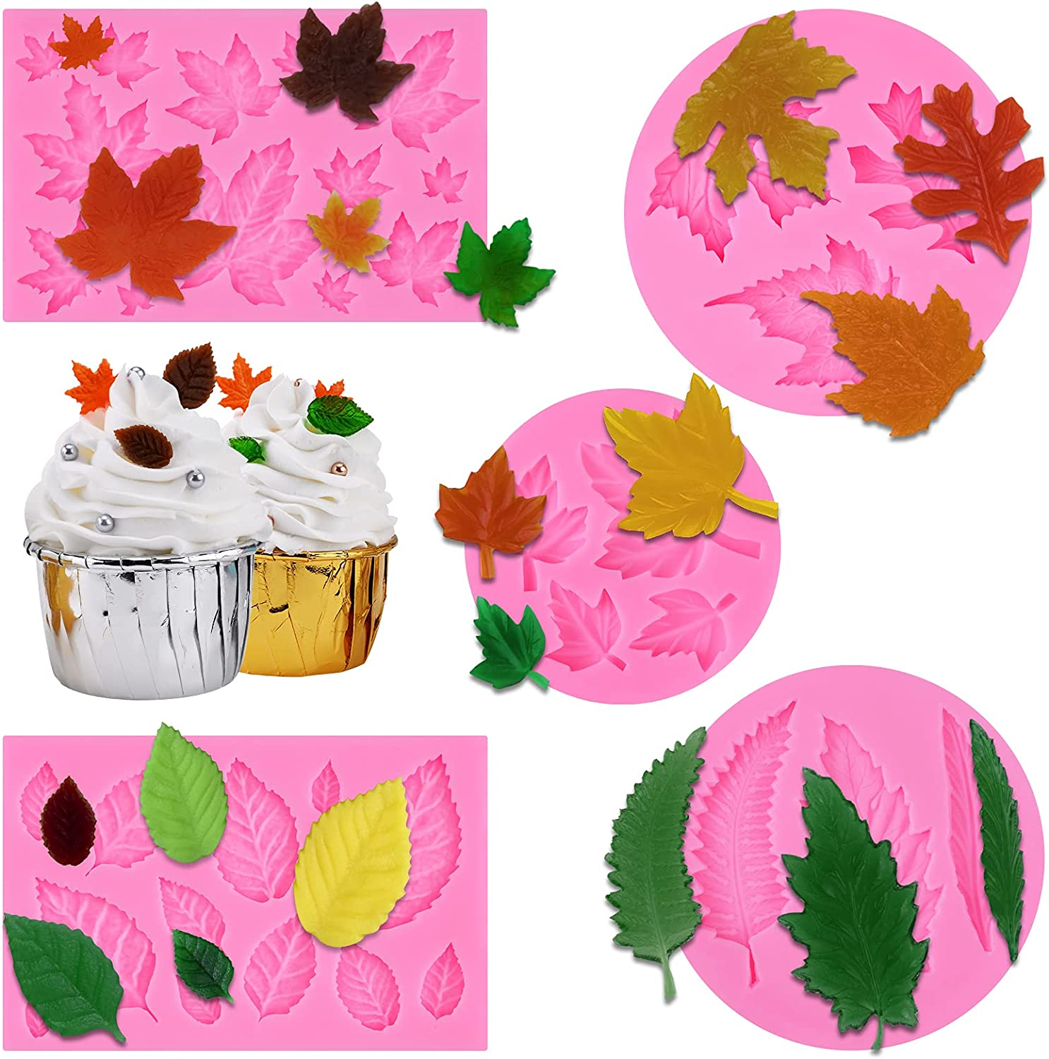 Leaf Fondant Molds 3D Great interest Maple Silicone Chocolate for discount C