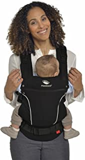 manduca First Babytrage > PureCotton Night Black < Ergonomische Babytrage I Bio-Baumwolle I Neues Stoff-Finishing Soft & Fusselfrei Bauch- Hüft- und Rückentrage für Kinder bis 20kg, schwarz