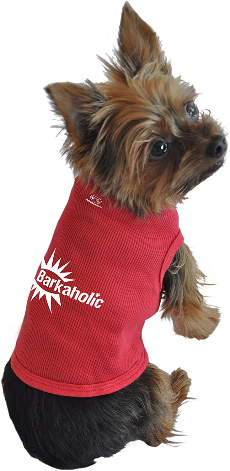 Ruff Ruff and Meow Small Dog Tank Top, Barkaholic, Red