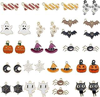 JJG 36pcs Bulk Lot Halloween Theme Enamel Bat Ghost Pumpkin Lantern Dainty Dangle Charms Pendant for Earrings Jewelry Maki...
