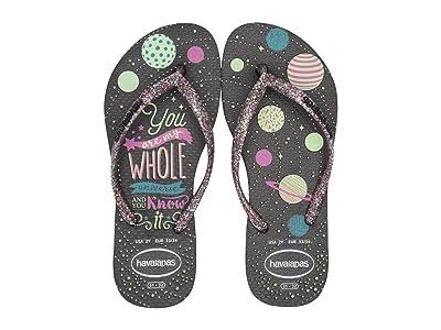 Havaianas Kids Slim Fashion Glow in the Dark Flip-Flop (Little Kid/Big Kid) (Black) Girls Shoes