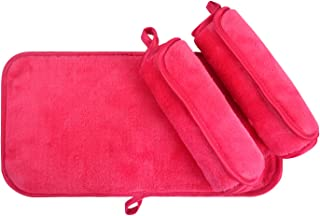 KinHwa Reusable Makeup Remover Cloths Soft Microfiber Face Cleansing Cloth Magically Remove Cosmetics Only with Water 6inch x 12inch 3 Pack Rose-pink