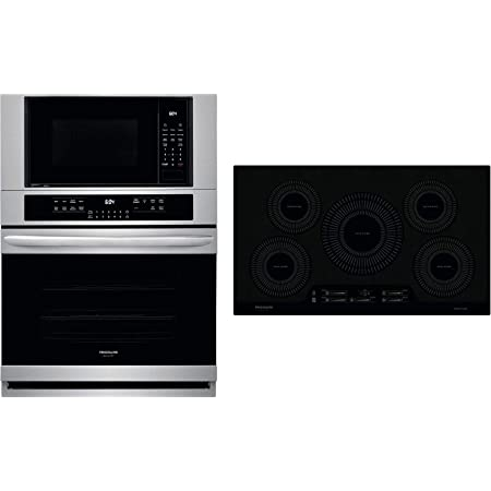 frigidaire 2 piece kitchen appliances package with fgmc3066uf 30 electric double wall oven microwave combo and fgic3666tb 36 electric induction