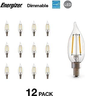 Energizer CA10C 40 Watt Equivalent Filament LED Light Bulb with E12 Base (Dimmable), 12-Pack, Soft White-E12