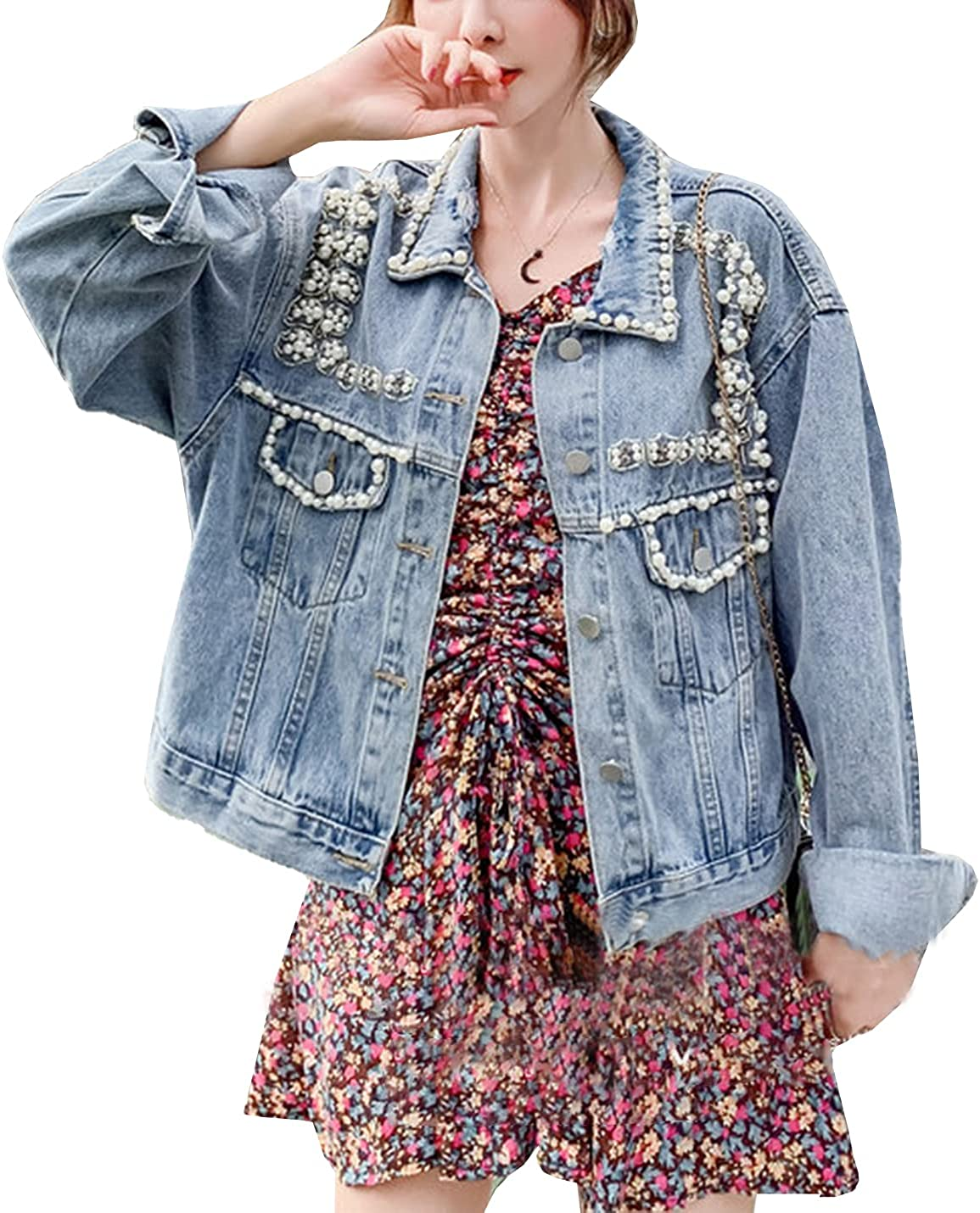 Kissonic Women's Embroidered Pearls Rivet Denim Jacket Casual Loose Cropped Jean Coat