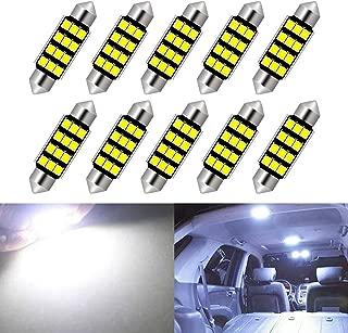 KaTur 6411 6413 6423 Festoon C5W Led Bulbs 39mm White Light Super Bright Chipsets Canbus Error Free for 6461 DE3425 DE3423 Interior Light,Dome Light,Map Light,Door Light,Trunk Light (Pack of 10)