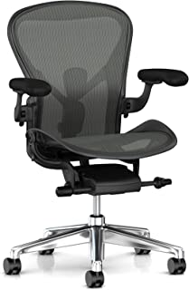 Herman Miller Aeron Ergonomic Office Chair with Tilt Limiter and Seat Angle | Adjustable PostureFit SL, Arms, and Carpet Casters | Medium Size B with Graphite/Polished Aluminum Finish