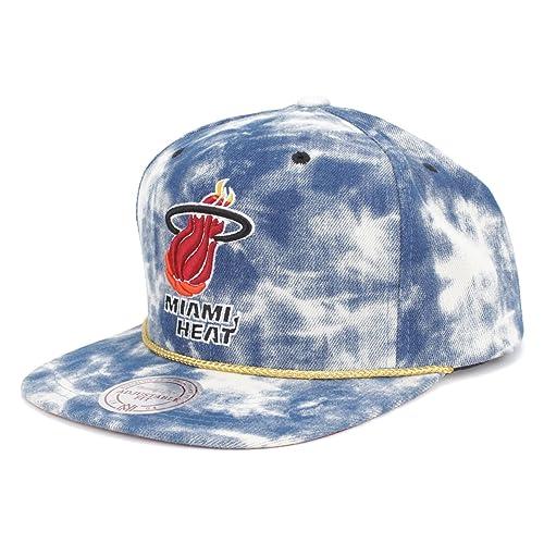 New Mitchell   Ness Blue Acid Wash Denim Snapback Hat Cap (NBA Miami Heat) ee1d0ad0119d