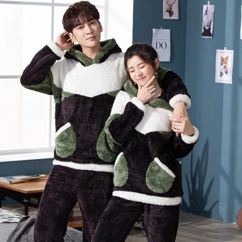 Bayue Unisex Adult Couple Pajamas Winter Warm Thickening Pajamas Set Cute Cartoon Home Clothes Hooded Sleepwear Female Pijamas Zhaozb (Color : Wine Green, Size : Men L)