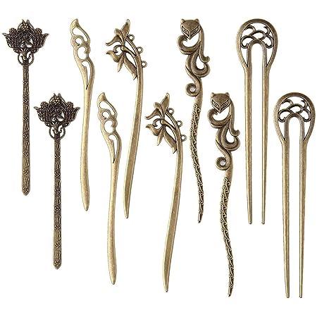 Acrylic Hair Pin Sticks Vintage Chinese Hair Chopstick Retro Hair Fork for Women