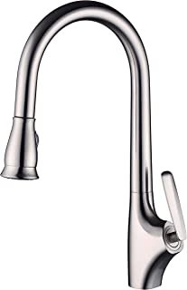 Kitchen Faucet Brushed Nickel,Pull Out High Arc Kitchen Faucets With Pull Down Sprayer,Copper Material