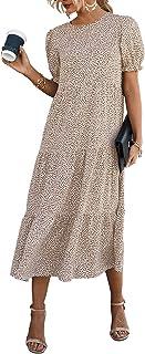 Women's Summer Casual Boho Dress Floral Print Ruffle Puff...