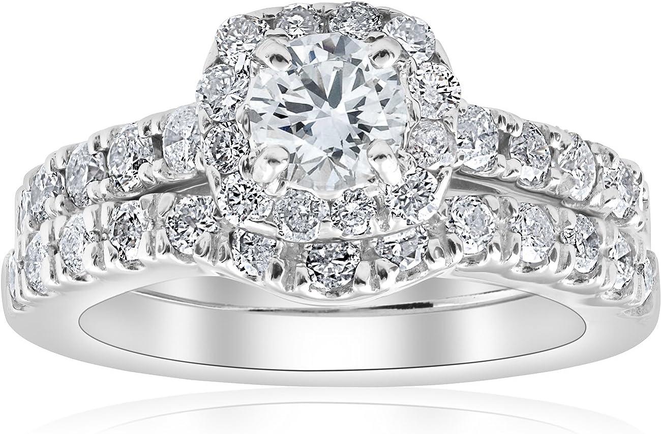 1 Max 73% OFF 4Ct Cushion Opening large release sale Halo Diamond Matching Engagement Se Wedding Ring