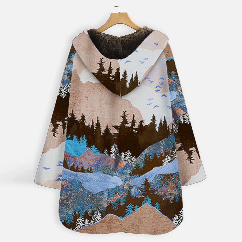 Kanpola Damen Winterjacke Oversize Lange Teddy-Futter Mantel Plüschjacke Winter Warme Cardigans Kapuzenjacke mit Taschen Retro Outwear Oberteile 41 - Blau