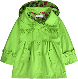 Arshiner Girl Kid Flower Waterproof Hooded Coat Jacket Outwear Raincoat