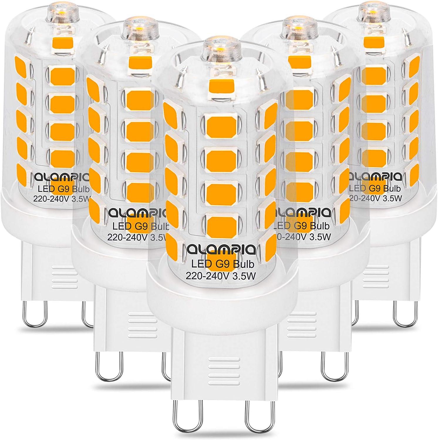 Bombillas LED G9, Luz Blanco Cálido 3000K, 3.5W 400 Lumens (Equivalente a Bombilla Halógena 40W), con Casquillo Estándar G9, Iluminación Led 360° Ángulo Sin Parpadeo, No Regulable, 5 Piezas