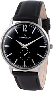 Peugeot Men's Vintage Retro Business Watch, Analog with Remote Sweep Second Hand and Black Leather Strap
