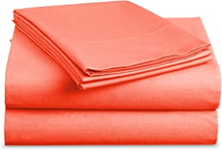 Luxe Bedding Sets - Queen Sheets 4 Piece, Flat Bed Sheets, Deep Pocket Fitted Sheet, Pillow Cases, Queen Sheet Set - Bright Coral