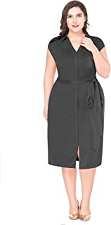 MF Women's Plus Size Elegant V Neck Collar Sleeveless Belted Business Formal Party Wrap Dress