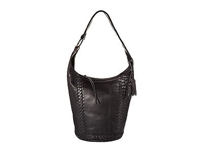 The Sak Skye Leather Bucket (Black) Handbags