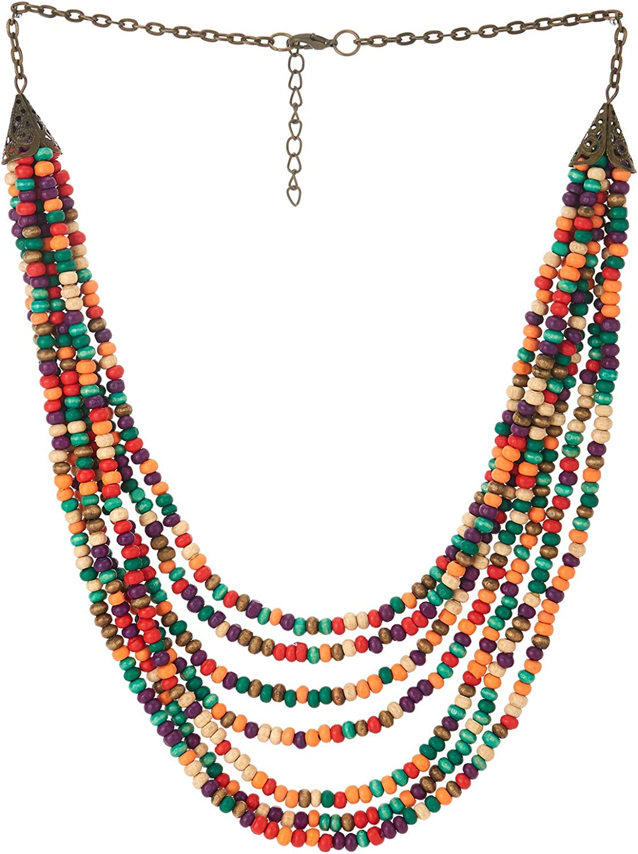 COOLSTEELANDBEYOND Statement Collar Choker Necklace Multi-Strand Colorful Wood Beads Charms Pendant Dress Boho Ethnic
