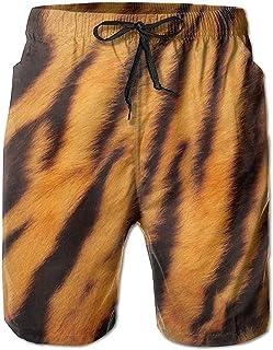 Lixinli Men's Tiger Stripes Drawstrings Beach Shorts