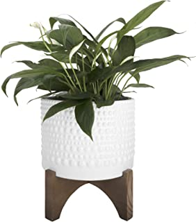 Ceramic Planter with Wood Stand - 8 Inch White Cylinder Embossed Hobnail Patterned Flower Plant Pot Indoor