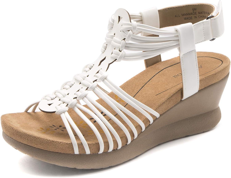 Alaruba Women's Adjustable Hook and Sand Woven Wedge Regular store Straps Loop Challenge the lowest price