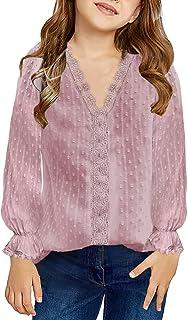 Dokotoo Girls Cute V Neck Ruffle Long Sleeve Princess Tee Shirts Solid Color Lace Crochet Pom Pom Loose Soft Chiffon Boho ...