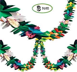 Bozoa (3Pack) Tissue Flower Garland - 12 Foot Long Tropical Multicolored Paper Garland Flower Banner for Tropical Party Decorations Supplies