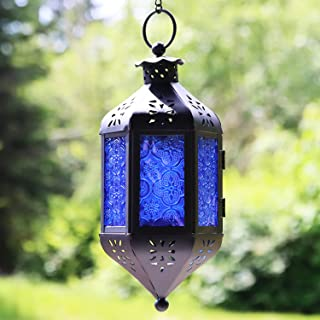 Vela Lanterns Hanging Moroccan Style Candle Lantern with Chain, Cobalt
