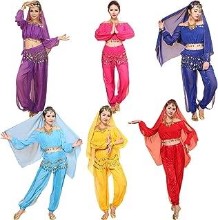 MXJEEIO ? Mujer Ropa para Profesionales Danza del Vientre Traje de Baile de La India Conjunto de Belly Dance Traje de Danza Practicar Baile Sujetador Faldas Oriental del Vientre Traje para Mujeres
