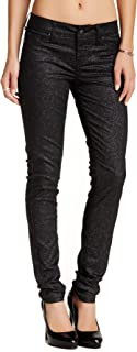 Standards & Practices S&P Contemporary Women's Contemporary Skinny Jeans Glitter Sparkling Black Stretch Denim Cigarette Leg
