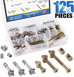 Glarks 125Pcs 3-in-1 Furniture Connection Assortment Kit, Hex Socket Cap Screws & Cam Fitting & Dowel and Pre-Inserted Nut & Barrel Nuts for Crib, Wardrobe Splicing, Cabinet Drawer and Chairs