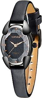 SURVAN Japanese-Quartz Watch for Women Fashion Rhombus Polyhedral Wrist Watch Satin Strap with...