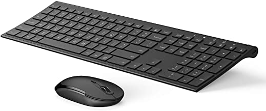 Vive Comb Wireless Keyboard and Mouse, 2.4GHz Rechargeable Compact Whisper-Quiet Full-Size Keyboard and Mouse Combo with Nano USB Receiver for Windows, Laptop, PC, Notebook-Black