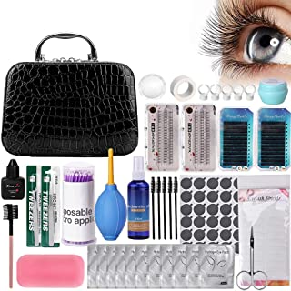 Pro 22pcs Eyelash Extension Kits, Beauty Star False Lashes Tool Curl Glue With Cosmetic Case For Makeup Practice Eye Lashes Graft, Lash Starter Kit, Eyelashes Extension Practice Set