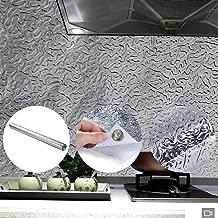 Kitchen Backsplash Wallpaper - Premium Peel&Stick Aluminum Foil Wall Paper|Self-Adhesive Backsplash for Kitchen Walls Cabinets Drawers & Shelves|Heat Resistant & Washable Kitchen Wallpaper