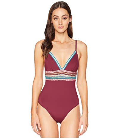 La Blanca Running Stitch Over the Shoulder Mio One-Piece Swimsuit (Mahogany) Women