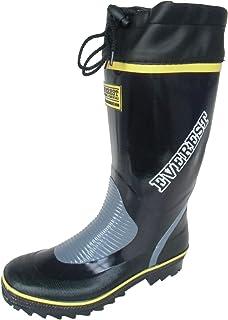 長靴 雨靴 防水 レインシューズ ブーツ フード カラー 作業長 軽量 ガーデニング 洗車 畑仕事 2色 メンズ (26.0 cm, ネイビー)
