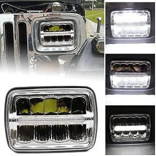 HOZAN 1pc 5 x 7 7 x 6 Rectangular LED Headlight DRL Motorcycle Headlamp for Jeep Wrangler YJ Cherokee XJ Comanche MJ upgrade H6014 H6054 H6052