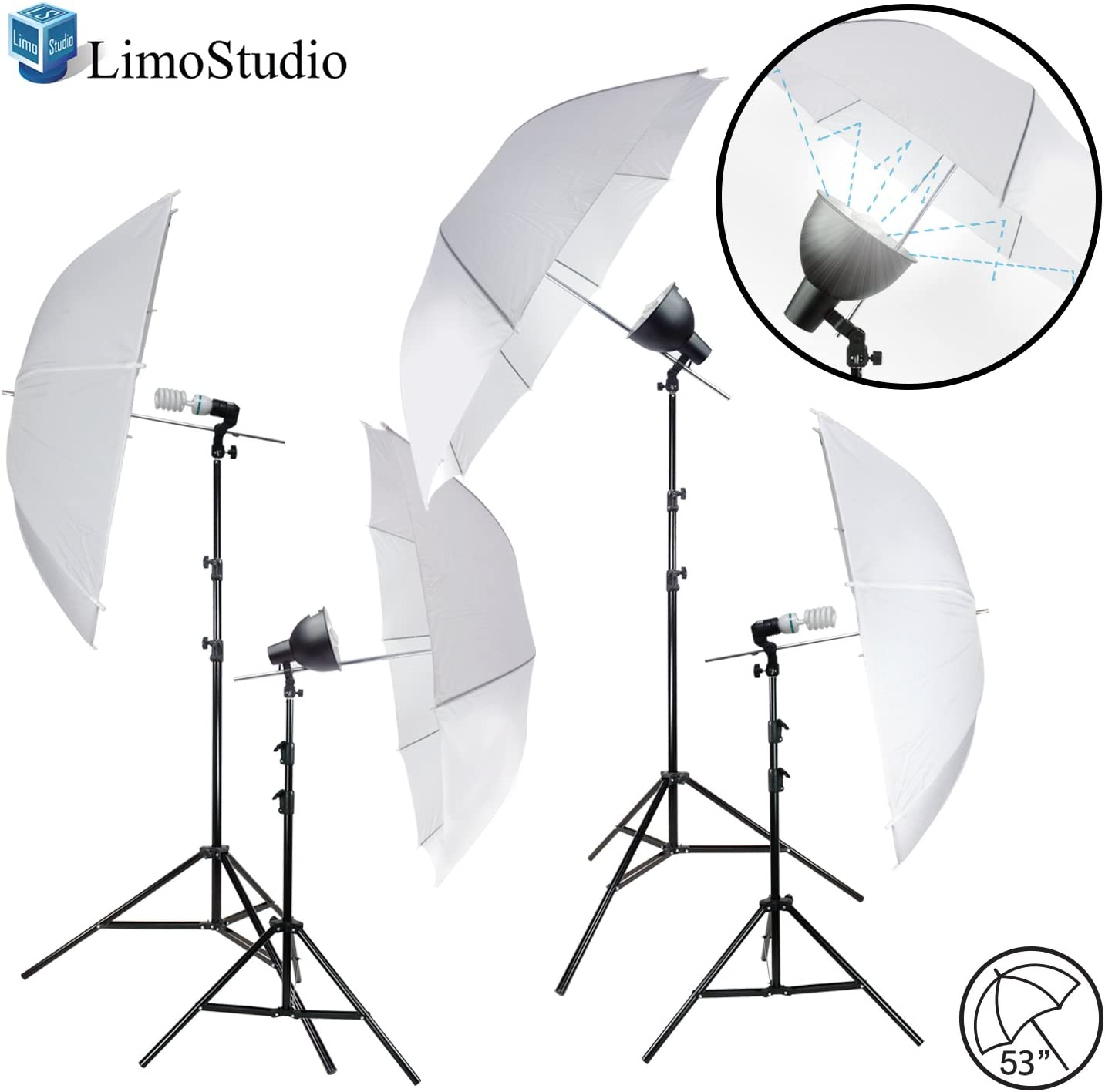 LimoStudio White Umbrella Reflector Complete Kit Lighting with Cheap mail order shopping T Japan's largest assortment