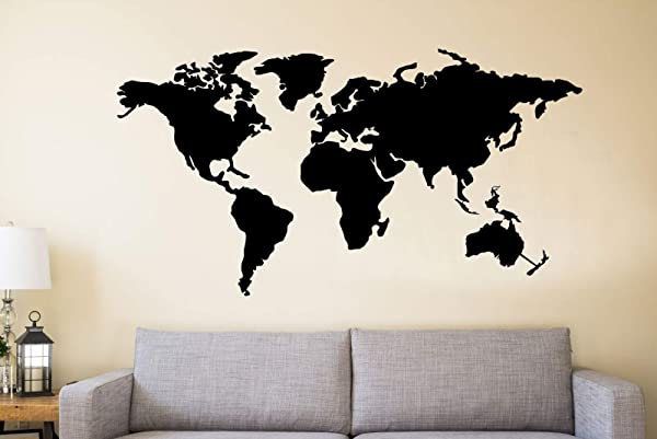 DEKADRON Metal Wall Art Metal World Map Continents Metal Wall Decor Interior Decoration Metal Sign 4 Pieces 59 Wx32 H 150cmx80 Cm