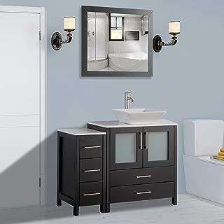 Vanity Art 42 inch Single Sink Bathroom Vanity Combo Set 5-Drawers, 1-Shelf, 2 Cabinet White Quartz Top and Ceramic Sink Bathroom Cabinet with Free Mirror - VA3130-42-E