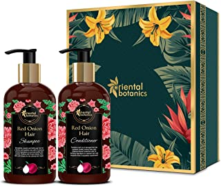 Oriental Botanics Red Onion Hair Shampoo + Conditioner Kit with Red Onion Oil + 25 Natural Ingredients (Shampoo + Conditioner, 300ml Each)