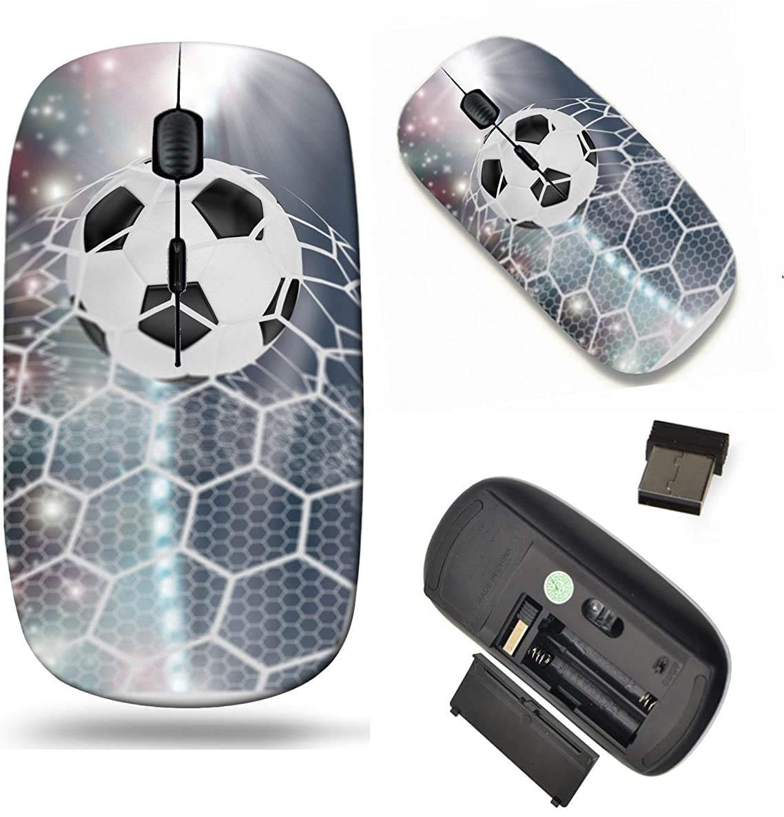 MSD Wireless Mouse Travel 2.4G Wireless Mice with USB Receiver, Noiseless and Silent Click with 1000 DPI for Notebook, pc, Laptop, Computer, mac Book Design: 34862146 Soccer Ball in Goal net